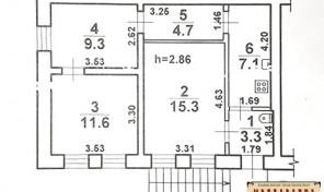 3-комнатная на Мясоедовской — 52 метра за 14.500 у.е.!
